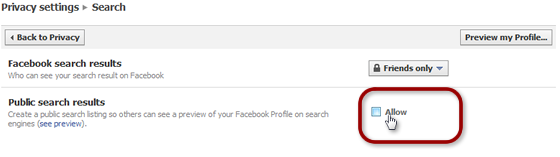 Facebook Public Search Option